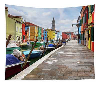 Along The Canal In Burano Island Tapestry