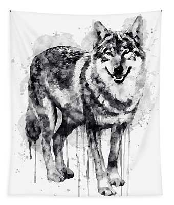 Alpha Wolf Black And White Tapestry