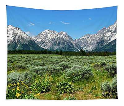 Alpine Meadow Teton Panorama II Tapestry