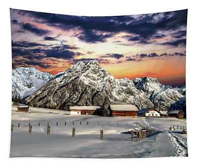 Alpine Winter Scene Tapestry