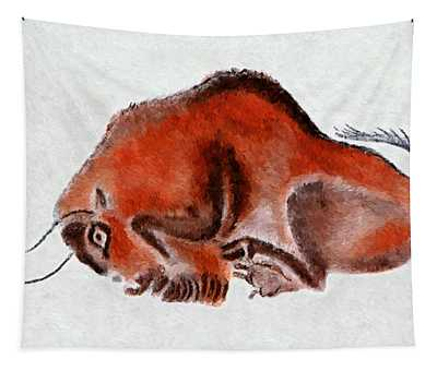 Altamira Prehistoric Bison At Rest Tapestry