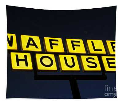 Always Open Waffle House Classic Signage Art  Tapestry