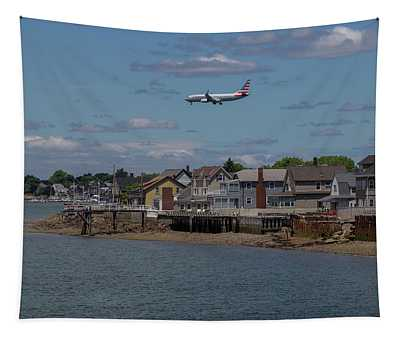 American Airlines Lands Over Winthrop Massachusetts Tapestry