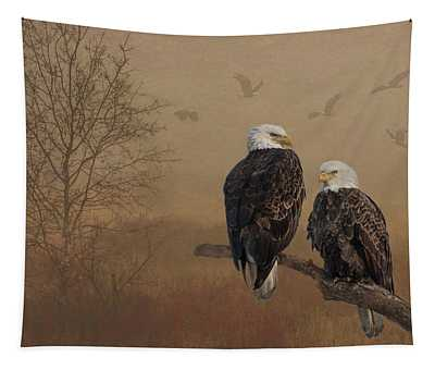 American Bald Eagle Family Tapestry