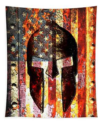 American Flag And Spartan Helmet On Rusted Metal Door - Molon Labe Tapestry