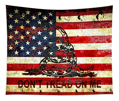 American Flag And Viper On Rusted Metal Door - Don't Tread On Me Tapestry
