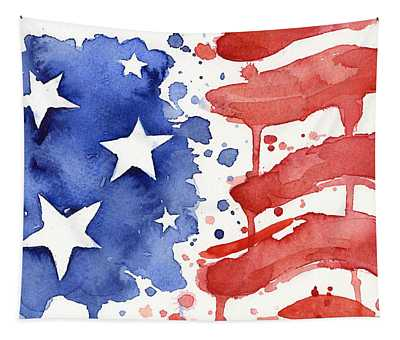 American Flag Watercolor Painting Tapestry