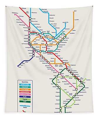 Americas Metro Map Tapestry