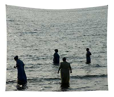 Amish Bathers Version One Tapestry