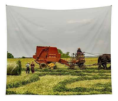 Amish Family In Hayfield  Tapestry