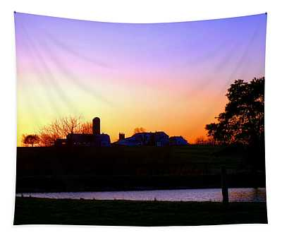 Amish Farm Sunset Tapestry