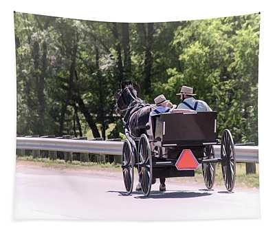 Amish Father And Sons Tapestry