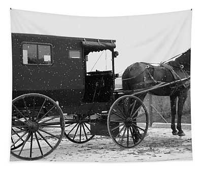 Amish Horse And Buggy In Snow Black And White Tapestry
