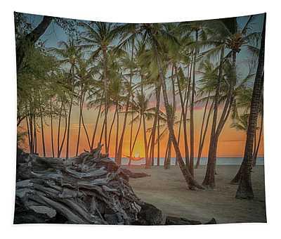 Anaehoomalu Beach Sunset Tapestry