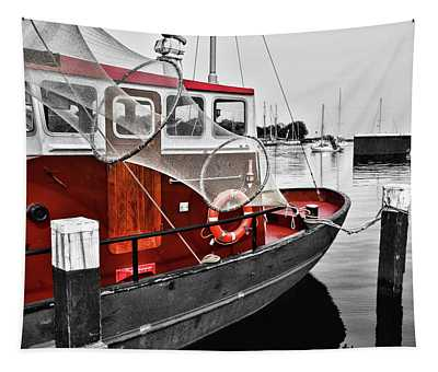 Anchored Red Boat  Tapestry