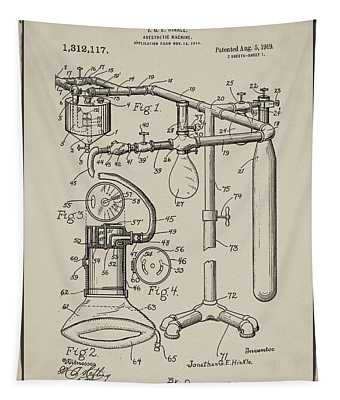 Anesthetic Machine Patent 1919 In Sepia Tapestry