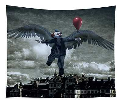 Angel Clown With Balloon Tapestry