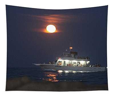 Angler Cruises Under Full Moon Tapestry