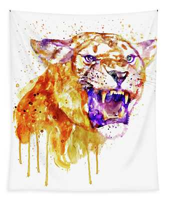 Angry Lioness Tapestry