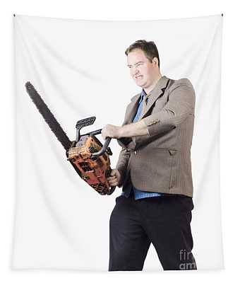 Angry Man In Business Attire Holding Chainsaw Tapestry