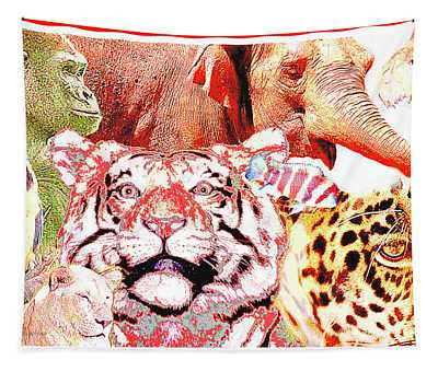 Animal Collage Digital Art Tapestry