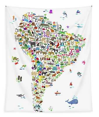 Animal Map Of South America For Children And Kids Tapestry