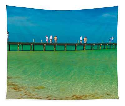 Anna Maria Island Historic City Pier Panorama Tapestry