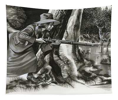Annie Oakley Shooting A Buck Tapestry