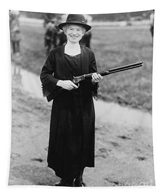 Annie Oakley With The Gun Buffalo Bill Gave Her, 1922 Tapestry