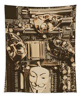 Anonymous Cyber Masks Tapestry