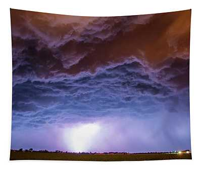 Another Impressive Nebraska Night Thunderstorm 007 Tapestry