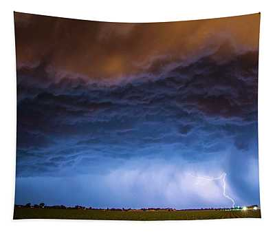 Another Impressive Nebraska Night Thunderstorm 008/ Tapestry