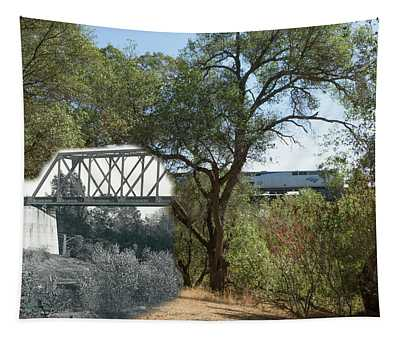 Tapestry featuring the photograph Antelope Creek Railroad Bridge - Then And Now by Jim Thompson
