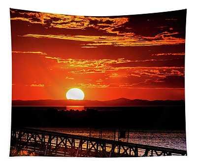 Antelope Island Marina Sunset Tapestry