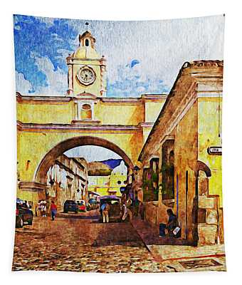 Antigua, Guatemala - Digital Paint Tapestry