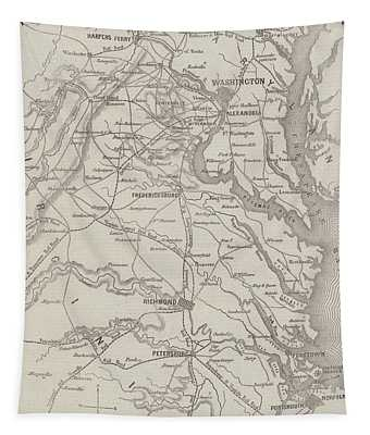 Antique Civil War Map Showing The Seat Of War In Virginia Tapestry