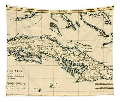 Antique Map Of Cuba Tapestry