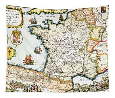 Antique Map Of France Tapestry