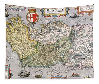 Antique Map Of Ireland Tapestry