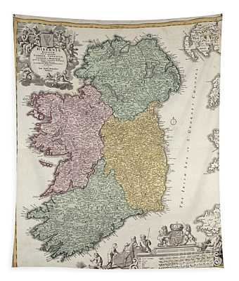 Antique Map Of Ireland Showing The Provinces Tapestry