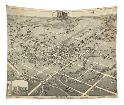 Antique Maps - Old Cartographic Maps - Antique Birds Eye View Map Of Denton, Texas, 1883 Tapestry