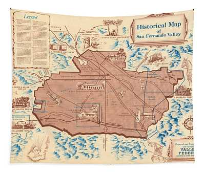 Antique Maps - Old Cartographic Maps - Antique Historical Map Of San Fernando Valley Tapestry