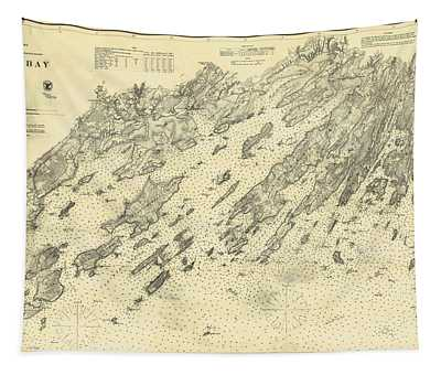 Antique Maps - Old Cartographic Maps - Antique Map Of Casco Bay, Maine, 1870 Tapestry