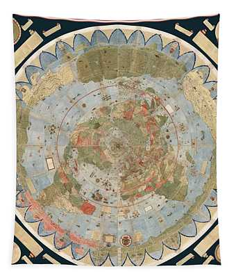 Antique Maps - Old Cartographic Maps - Flat Earth Map - Map Of The World Tapestry
