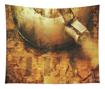 Antique Old Tea Metal Sign. Rusted Drinks Artwork Tapestry