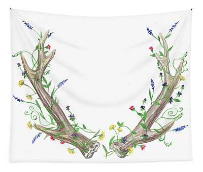 Antlers And Wild Flowers Watercolor Tapestry