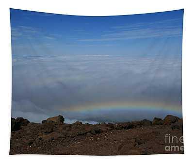 Anuenue - Rainbow At The Ahinahina Ahu Haleakala Sunrise Maui Hawaii Tapestry