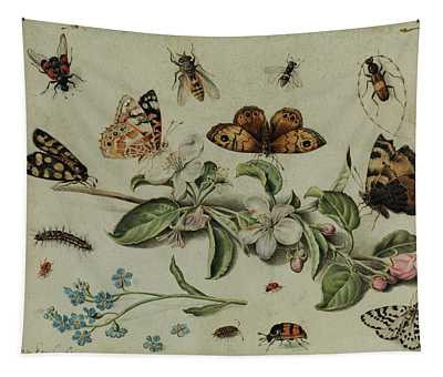 Apple Blossom Branch Between Butterflies And Insects Tapestry