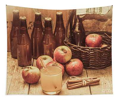 Apples Cider By Wicker Basket On Wooden Table Tapestry
