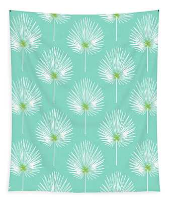 Aqua And White Palm Leaves- Art By Linda Woods Tapestry